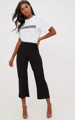 PrettyLittleThing Black Cropped Wideleg Trousers
