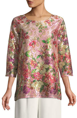 Caroline Rose Tickled Pink Lace Party Top, Plus Size