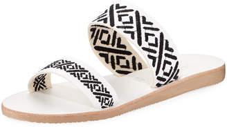 Joie Sable Stitched Slide Flat Sandal, Black