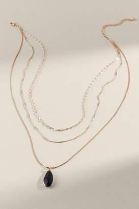 francesca's Remy Layered Stone Necklace - Black