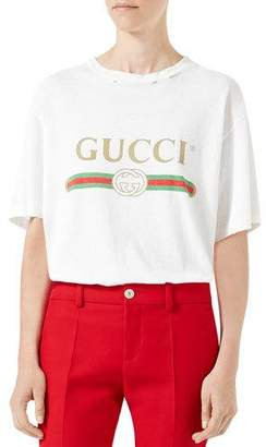 Gucci Print Cotton Tee, White