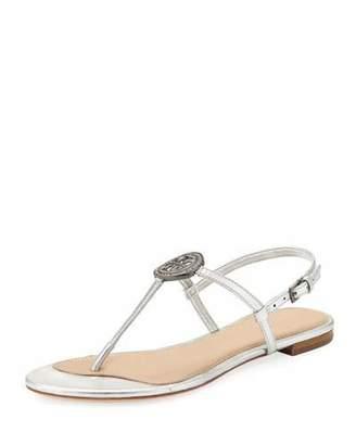 Tory Burch Liana Metallic Leather Flat Sandal
