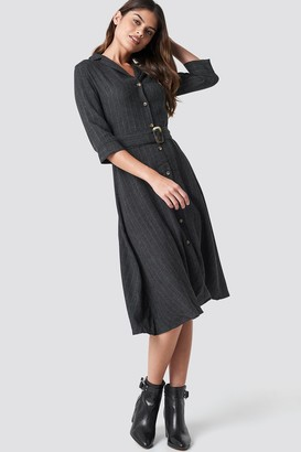 MANGO Pin Midi Dress Grey