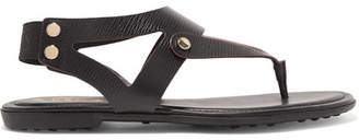 Tod's Textured-leather Slingback Sandals - Black