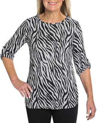 CATHY DANIELS Cathy Daniels Separate Hacci-Womens Round Neck 3/4 Sleeve T-Shirt