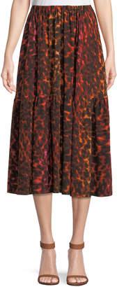 Stella McCartney Neon Animal-Print Silk Full A-Line Midi Skirt