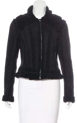 L'Agence Shearling Lined Suede Jacket