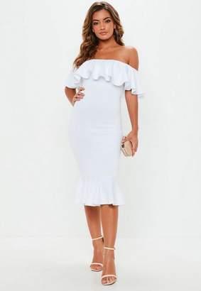 Missguided White Bardot Frill Fishtail Midi Dress