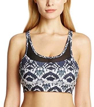 7Goals Women's Mesh Design Removable Padded Printed Sports Bra