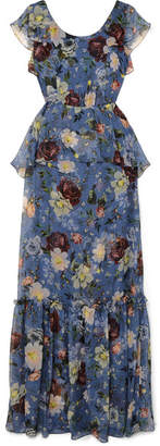 Erdem Julianna Ruffled Floral-print Silk-chiffon Gown - Blue