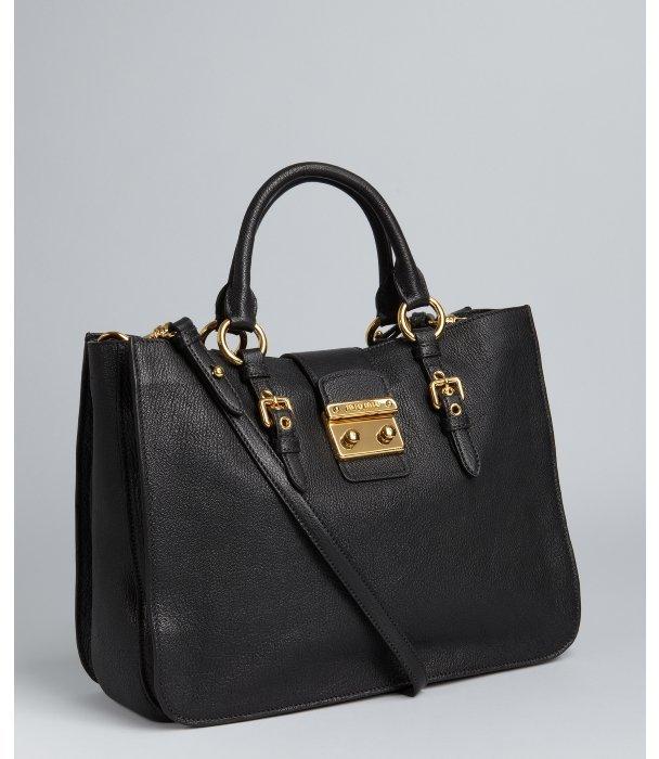 Miu black leather triple compartment tote