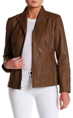 Cole Haan Leather Front Zip Wing Collar Jacket