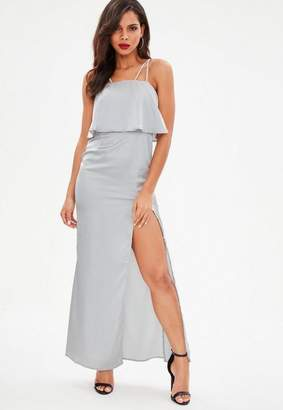 Missguided Silver Silky Double Layer Maxi Dress