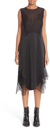 Women's Belstaff Jasmine Lace Inset Silk Midi Dress $1,095 thestylecure.com