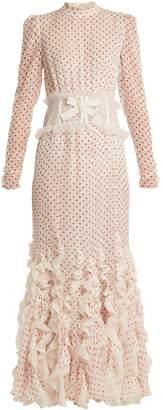 Giambattista Valli Ruffled dot-devoré silk-blend voile gown