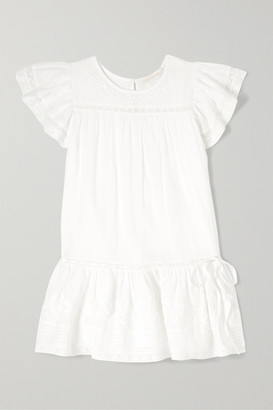 LoveShackFancy Kids - Audrey Tiered Embroidered Cotton-voile Dress - White