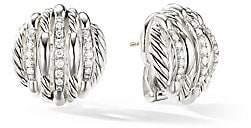 David Yurman Tides Sterling Silver & Diamond Stud Earrings