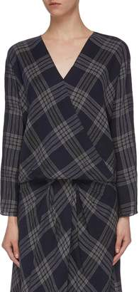 Vince Crossover check plaid blouse
