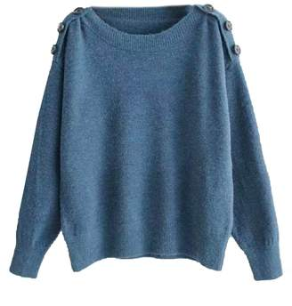 Goodnight Macaroon 'Kashton' Buttoned Shoulders Sweater (3 Colors)