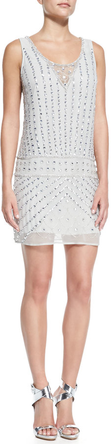 Phoebe by Kay Unger Sleeveless Beaded Drop-Waist Cocktail Dress