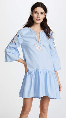 Vilshenko Dory Embroidered Poplin Mini Dress