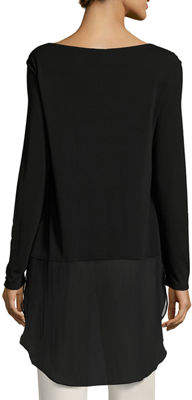 Eileen Fisher Long-Sleeve Silk Jersey Tunic w/ Sheer Layer, Plus Size