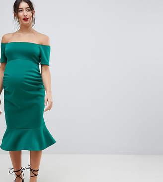 True Violet Maternity bandeau midi bodycon dress with pephem