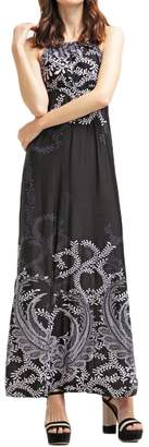BENANCY Women's Sexy Halter Neck Long Beach Dresses Sleeveless Print Maxi Dress mb-XS