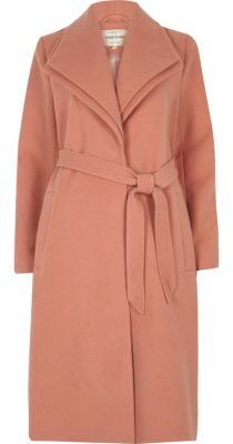River Island River Island Womens Dark pink double collar coat