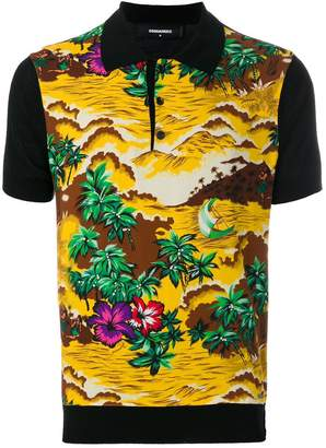DSQUARED2 Hawaii landscape print polo shirt