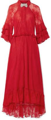 Dodo Bar Or - Crystal-embellished Ruffled Stretch-lace Midi Dress - Red