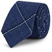 Alexander Olch Men's Diagonal-Windowpane Wool-Cotton Necktie - Navy