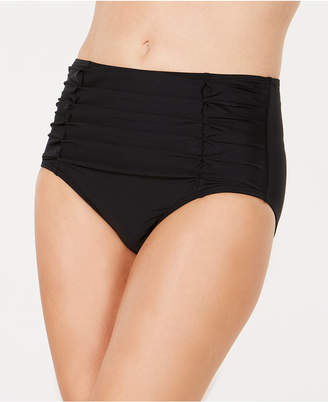 DKNY Ruched High-Waisted Bikini Bottoms, Women Swimsuit