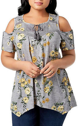 Style&Co. STYLE & CO. Plus Cotton-Blend Floral Cold-Shoulder Top