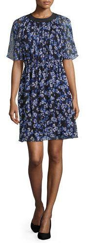 Kate Spade Kate Spade New York Floral Silk Chiffon A-Line Dress, Black
