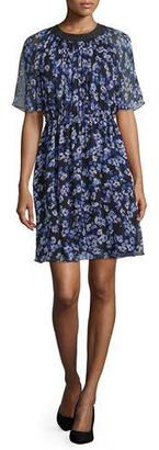 Kate Spade New York Floral Silk Chiffon A-Line Dress, Black $428 thestylecure.com