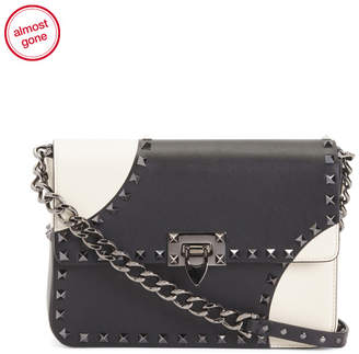 Valentino Made In Italy Medium Noir Geo Leather Crossbody