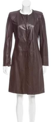 Rene Lezard Leather Knee-Length Coat