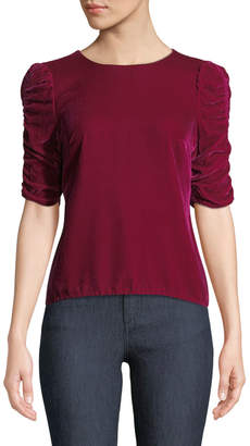 Rebecca Taylor Velvet Ruched-Sleeve Crewneck Top