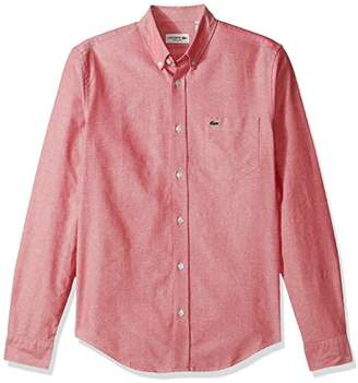 Lacoste Men's Long Sleeve Regular Fit Button Down Oxford Solid Woven Shirt