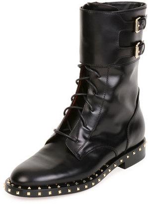 Valentino Soul Rockstud Leather Moto Boot, Nero/Platino $1,745 thestylecure.com