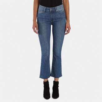 Paige Colette Crop Flare Jean with Raw Hem in Cosmo