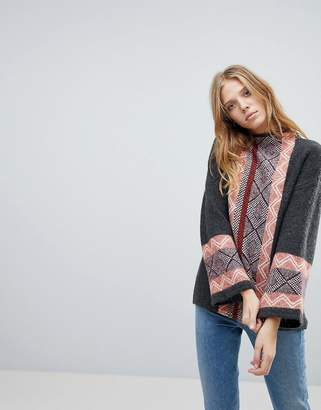 Vila Geo-Tribal Trim High Neck Sweater