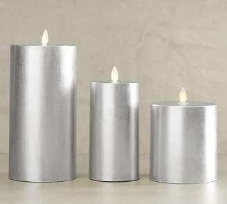 Pottery Barn Premium Flicker Flameless Gilt Pillar Candle - Silver
