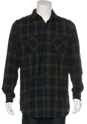 Fear Of God Zip-Accented Plaid Flannel Shirt
