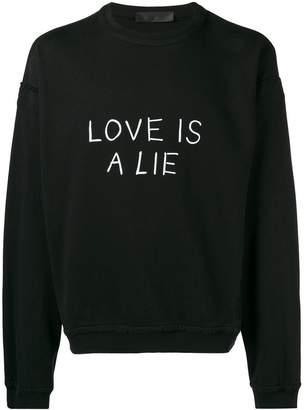 Haider Ackermann Love is a lie sweatshirt