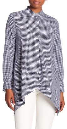Anne Klein Gingham Asymmetrical Hem Shirt