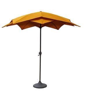 Asstd National Brand 8.2' Outdoor Patio Lotus Umbrella with Hand Crank - Yellow