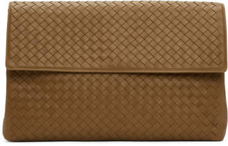 Bottega Veneta Brown Intrecciato Flap Pouch