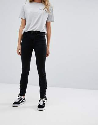 New Look Lace Up Side High Waist Jegging